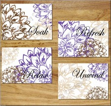 Purple Brown Tan BATHROOM Wall Art Prints Floral Picture Decor Soak Rela... - $13.99