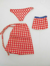 Vintage 1974 Growin' Skipper Houndstooth Red Check Wrap Skirt & Mini, Scarf - $14.99