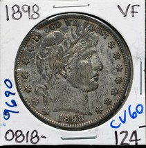 1898 Silver Barber Half Dollar 50¢ Coin Lot# CV60 image 1