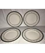 "Set of 4 Sakura Port of Call SERENADE 8"" Salad Plates Navy Rim w/ Gray L... - $19.99"