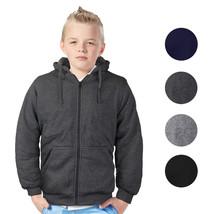 Boys Kids Athletic Soft Sherpa Lined Fleece Zip Up Hoodie Sweater Jacket
