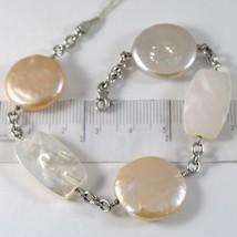 Bracelet En Or Blanc 750 18K, Perles PÊche Et Lavande Disque, Nacre - $555.65