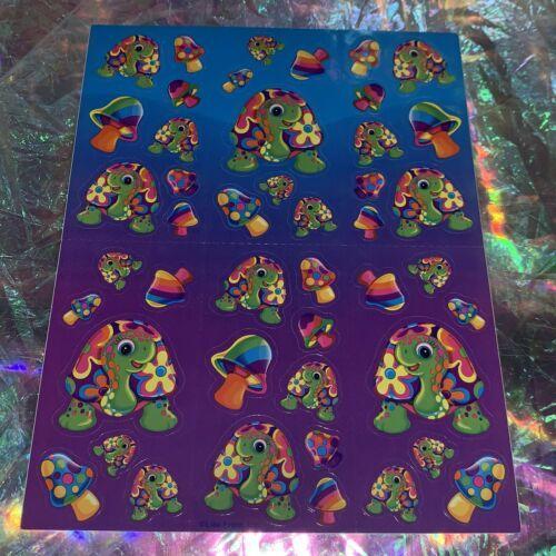 S492 Vintage Lisa Frank Complete Sticker Sheet PEEKABOO TURTLE Mushrooms