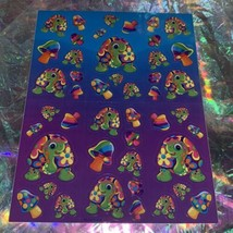 S492 Vintage Lisa Frank Complete Sticker Sheet PEEKABOO TURTLE Mushrooms