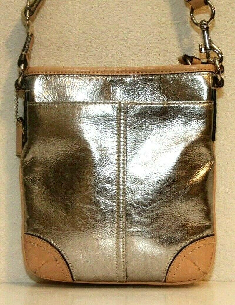 NEW! Coach Silver Metallic Leather Swingpack East Crossbody Bag #50168