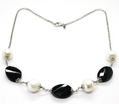 Silver 925 Necklace, Oval Black Onyx Faceted, Pearls, 44 cm, Rolo Chain image 1