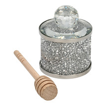Judaica High Holidays Rosh Hashanah Crystal Honey Dish w Wood Spoon Silver Bling