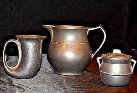 Pewter Pitcher, Cups, Creamer with Lid AA18-1291 Vintage Hand Cast image 2