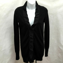 J Crew XS Cardigan Black Cashmere Blend Satin Trim Longer Sweater - $21.54