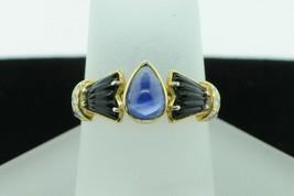 Designer 18K Yellow Gold Cabochon Sapphire, Cut Onyx and Diamond Ring (S... - $865.00