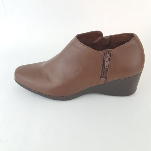 Dr Scholls Ankle Boot Wedge Brown Zip Women's 11M