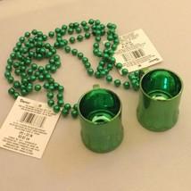 """Green Irish Mardi Gras Beads w/ Hanging Beer Mug Shot Glass 36"""" long Set... - $5.23"""