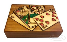 Polish Wood Playing Cards Box Royal Flush Handmade Wood Keepsake - $29.69