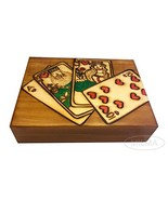 Polish Wood Playing Cards Box Royal Flush Handmade Wood Keepsake - $29.69