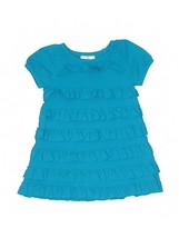 Hanna Andersson GUC 110 Girl Turqoise Blue Layered Ruffle shortsleeve Dr... - $11.88
