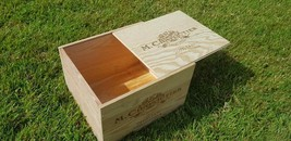 1 X GENUINE WOODEN WINE BOX WITH SLIDING LID - HAMPER, STORAGE / CARD BOX> - $24.69
