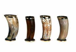 "Ceremonial glass 6"" viking drinking horn Mug cups - $49.71"
