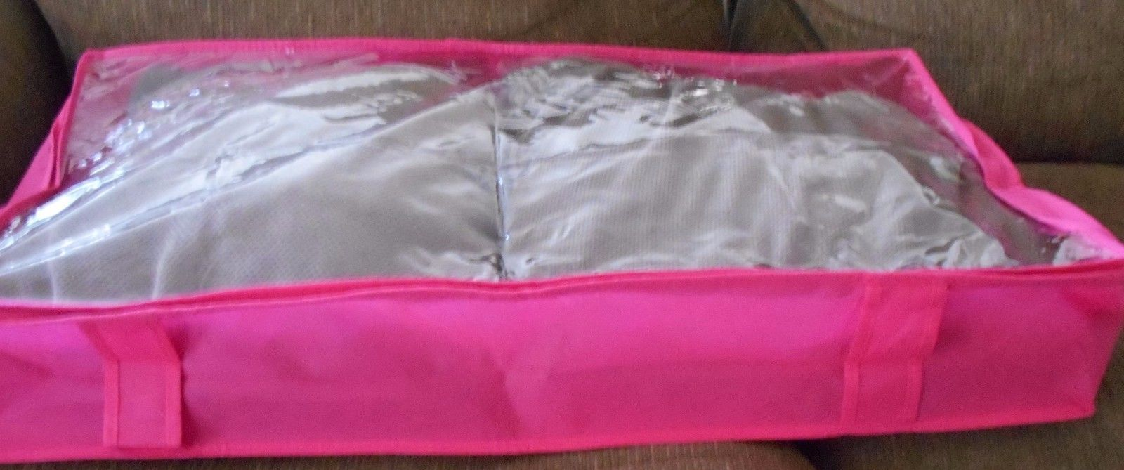 LARGE FOLDABLE STORAGE TRAVEL ORGANIZER PINK WITH CLEAR WINDOW 31X17X6""
