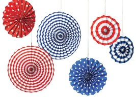 Amscan Fourth of July Party Stars & Stripes Hanging Fan Decoration (6 Pi... - $12.34