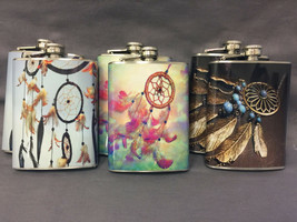 Set of 6 Dreamcatchers Set 1 Flasks 8oz Stainless Steel Hip Drinking - $36.58