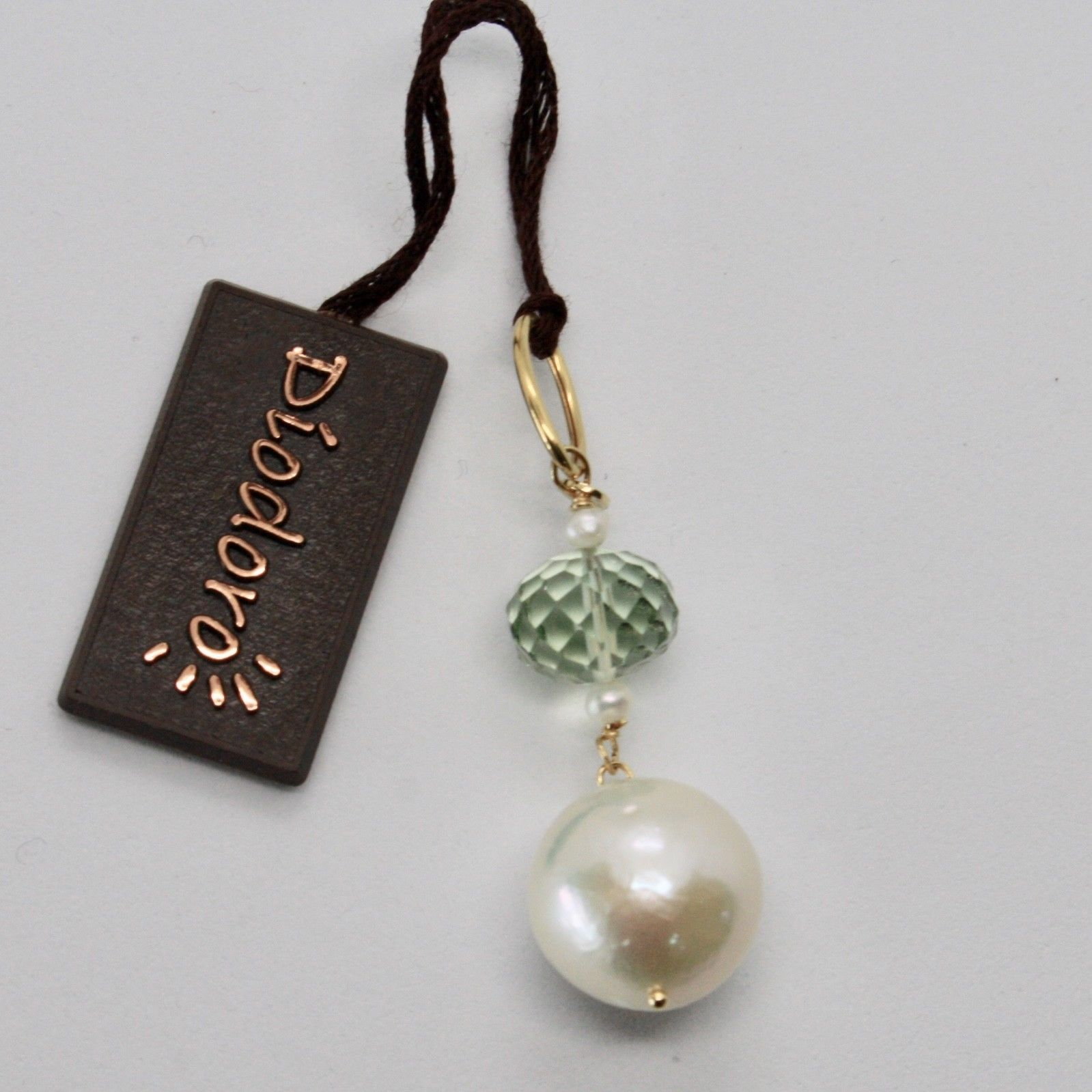 SOLID 18K YELLOW GOLD PENDANT WITH WHITE FW PEARL AND PRASIOLITE MADE IN ITALY