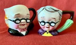 Grandpa & Grandma Cream & Sugar Bowls, Porcelain, Hand Painted, Japan, V... - $28.97