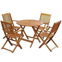 vidaXL Outdoor Dining Set 5 Piece Solid Eucalyptus Wood Garden Patio Fur... - $253.99
