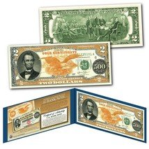 1882 Series Abraham Lincoln $500 Gold Certificate designed on a Real $2 ... - $13.98