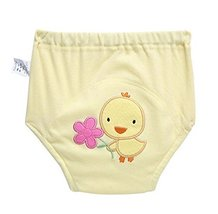 2 PCS Cute Training Pants Underwear Baby Diapers Reusable,YELLOW