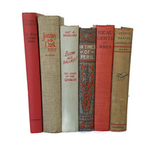 Vintage Book Stack Lot 6 Blue Red Grey Antique Farmhouse Wedding Decorative - $42.52