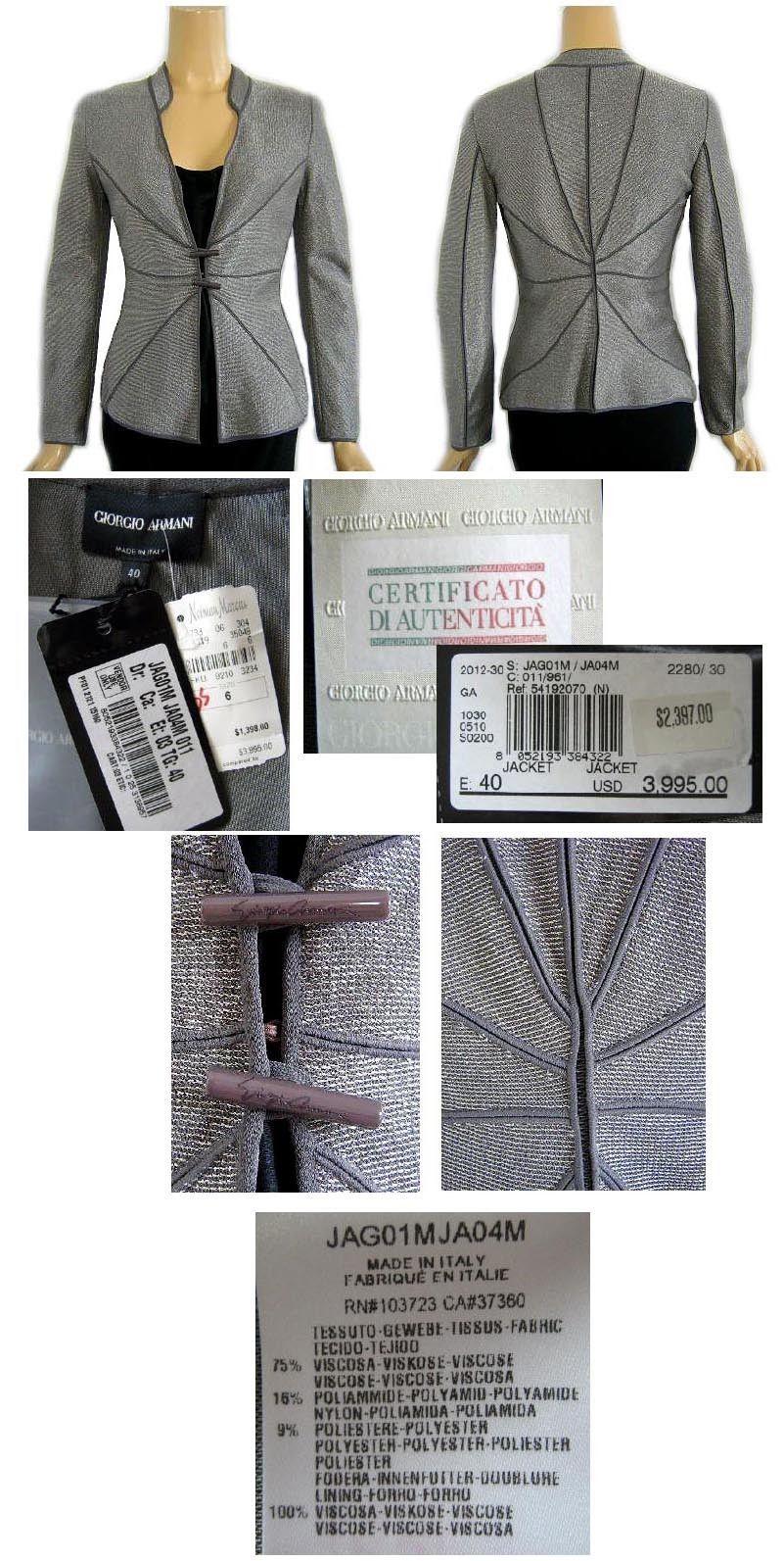 Giorgio Armani Silver Gray Metallic Evening Jacket Neiman Marcus 6 NWT $3995