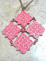 Vintage Coro Red Enamel Mosaic Tile Articulated Large Pendant Gold Tone Necklace - $60.00