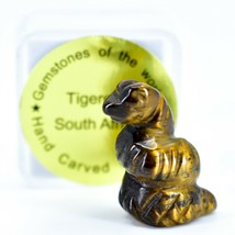 Tiger's Eye Gemstone Tiny Miniature Snake Figurine Hand Carved in China