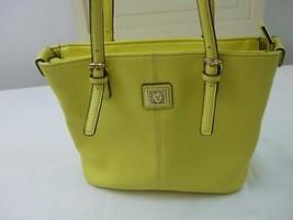 Anne Klein Daffodil Yellow Tote Handbag Purse Double Handle Straps Zip Pocket - $19.26