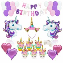 Unicorn Party Supplies Set Glitter Headband Balloons GOLD Happy Birthday... - $25.73