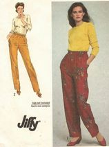 Vintage 1980 Misses Easy Fit Jiffy Pull-On Baggy Taper Leg Pants Sew Pattern S14 - $11.99