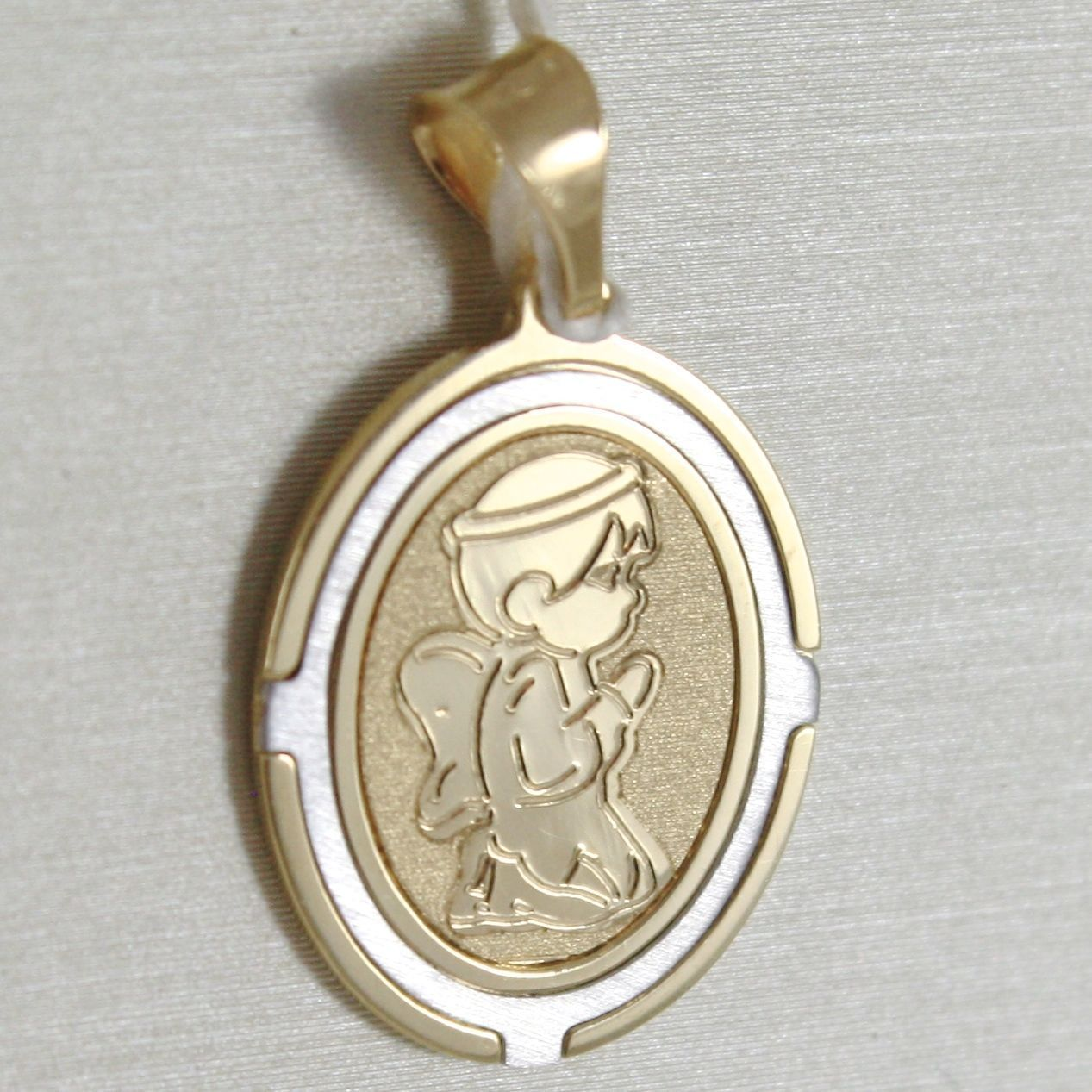 18K WHITE AND YELLOW GOLD MEDAL OVAL STYLIZED WITH GUARDIAN ANGEL MADE IN ITALY