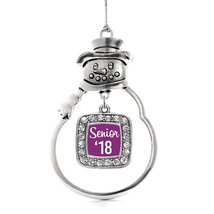 Inspired Silver Purple Senior '18 Classic Snowman Holiday Christmas Tree Ornamen - $14.69