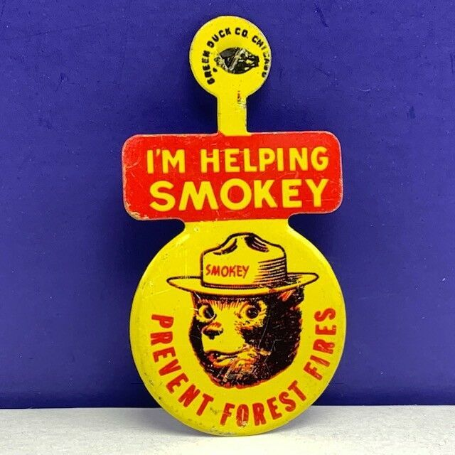 Primary image for Smokey Bear button pin 1960 green duck chicago prevent forest fire rescue usa 29