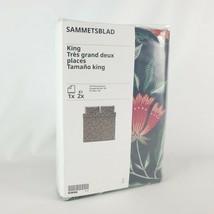 Ikea SAMMETSBLAD King Duvet Cover w/ 2 Pillowcases Black/Multicolor Flor... - $80.41