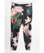Ted Baker Women's Ankle Pants Sz 0 Black Floral Skinny Aasha Opulent Bloom - $54.45