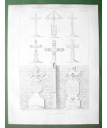 ARCHITECTURE PRINT : Germany France Cemetery Crosses Wood & Stone - $12.15