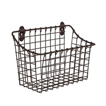 Spectrum Diversified Vintage Wall Mount Storage Basket, Large, Bronze - £7.67 GBP