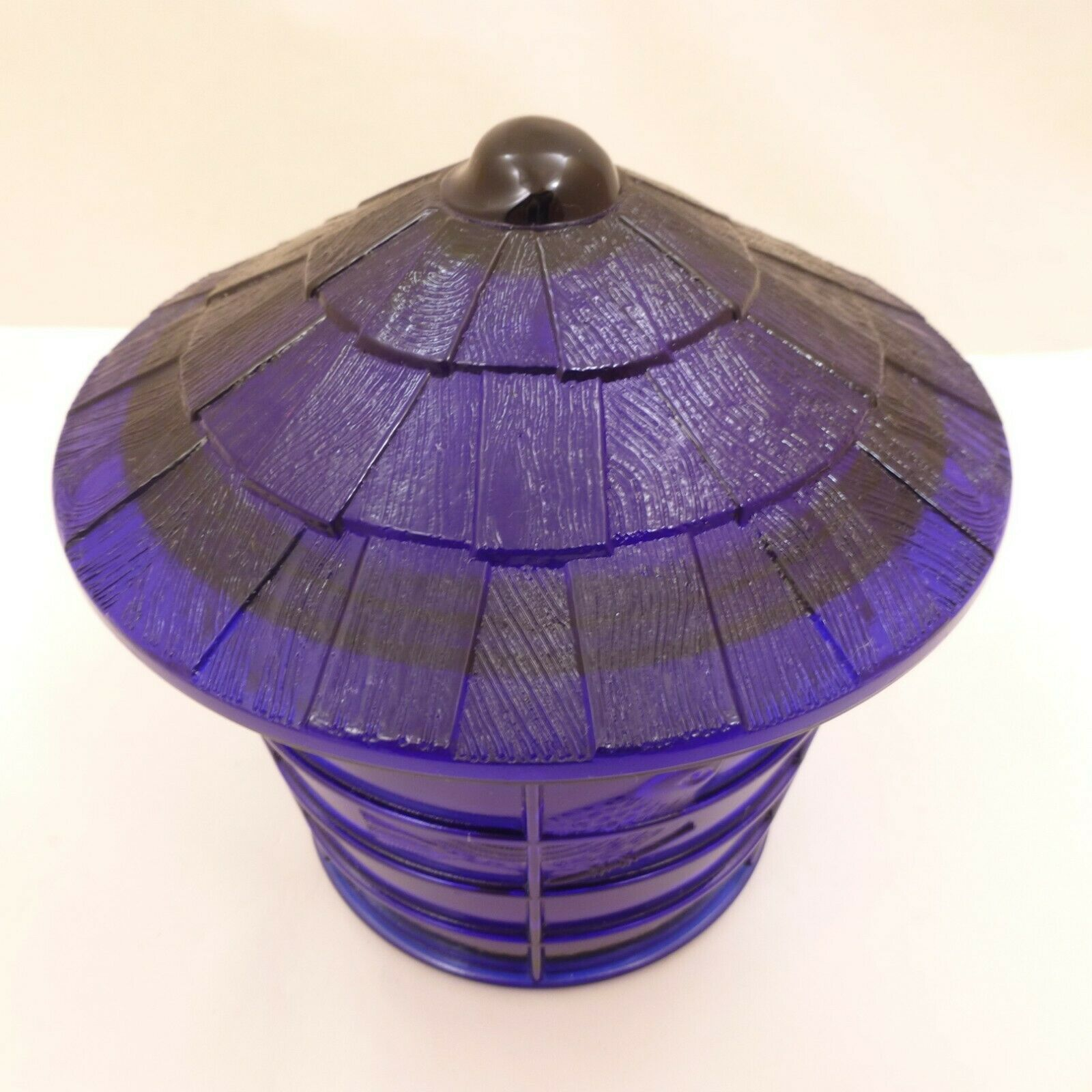 NOS Vintage IMPERIAL COBALT BLUE Glass BIRD CAGE Covered JAR Canister SUMMIT image 6