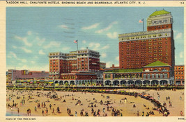 Vtg Hotels Beach Boardwalk Atlantic City New Jersey Postcard 1941 Postma... - $2.50