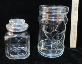 Vintage Glass Jar Eagle Olive Branch Arrows & Fleur De Lis Anchor Hockin... - $8.90