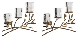 2 Tea Light Candle Holders Bird on Branches w. 3 Etched Glass Candle Cups - $52.95