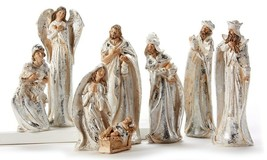 8 pc Nativity Scene in Silver & Cream Wise Men, Mary, Joseph, Angel,  Baby Jesus