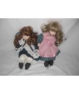 "Cute Pair 14"" Porcelain Bisque Girl Dolls Sweet Faces - $38.52"
