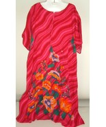 Vintage Womens Caftan Mumu House Dress One Size Plus SZ Floral Pockets 70s - $29.65